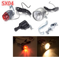 NEW 1 Set 6V 3W SX04 Bicycle Motorized Bike Friction Generator Dynamo LED Light Head Tail Rear Light Kit