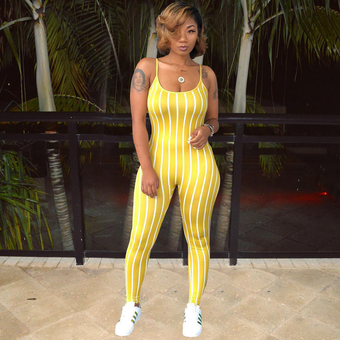 Striped   Rompers   Womens Jumpsuit Sleeveless Tank Yellow Red Black Spaghetti Strap Mono Mujer Verano 2019 Casual Combinaison Femme