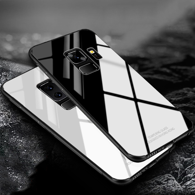 new styles 19c99 c603a US $3.99 20% OFF|RZP Tempered glass Case On The for Samsung Galaxy S 8 9  NOTE 8 Back Cover Hard Case Bumper for Samsung S8 S9 Plus Soft TPU Case-in  ...
