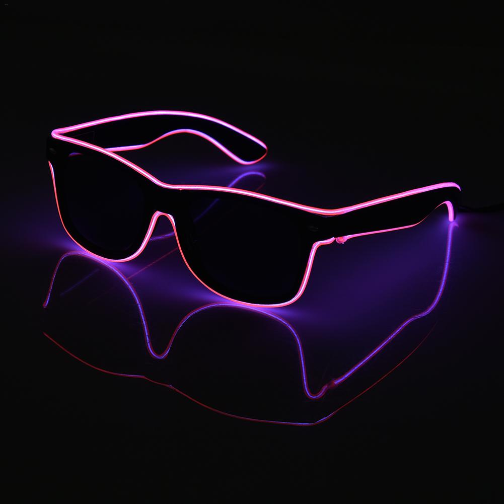 NEW Standard Black Lens Luminous LED Glasses EL Wire Neon LED Cold Light Glasses for Chr ...