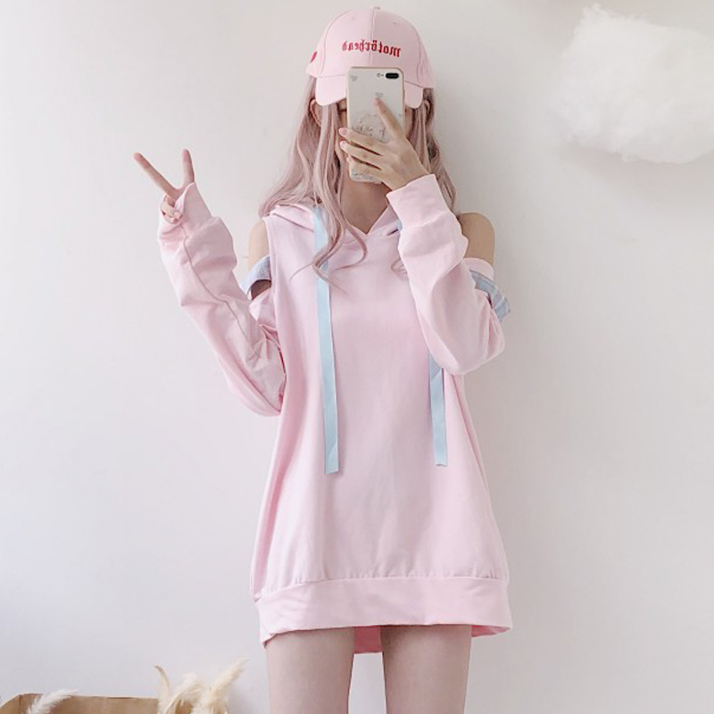 Japan Cosplay <font><b>Kawaii</b></font> Hoodies <font><b>Harajuku</b></font> Lolita Cute Off Shoulder Plaid Women Pink Sweatshirts Fashion Lace Up <font><b>Sexy</b></font> Girls Pullover image