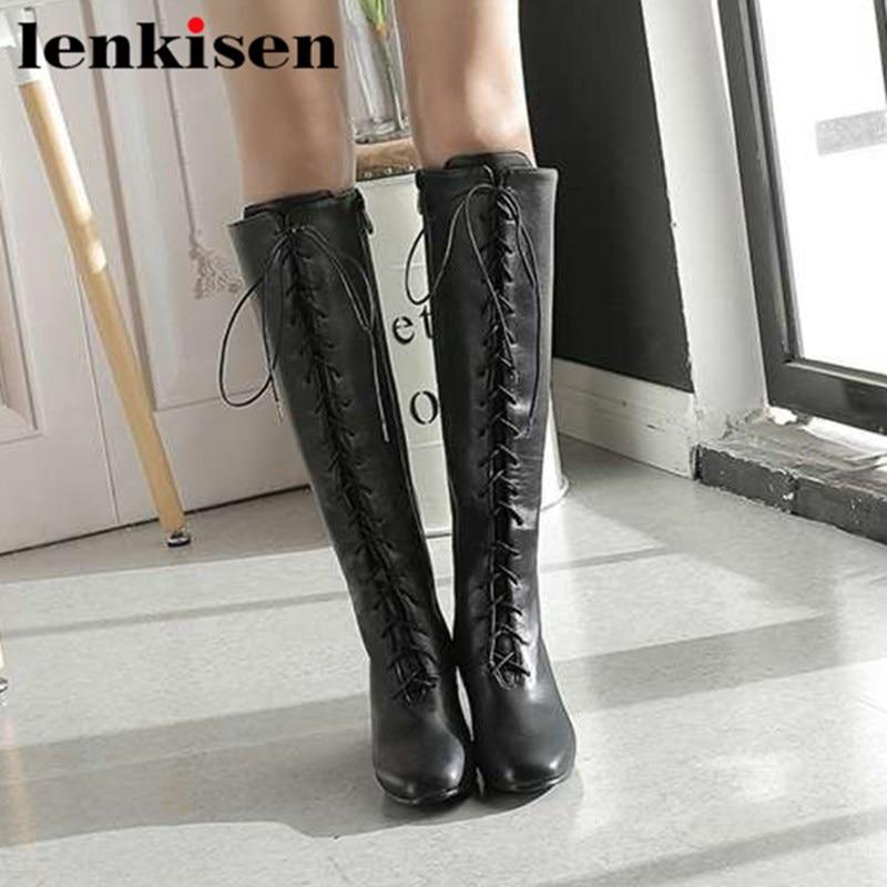Lenkisen sexy filles plus la taille haute épais talons bout carré pu rétro conception européenne station jeunes femmes pop genou- haute bottes Laf9