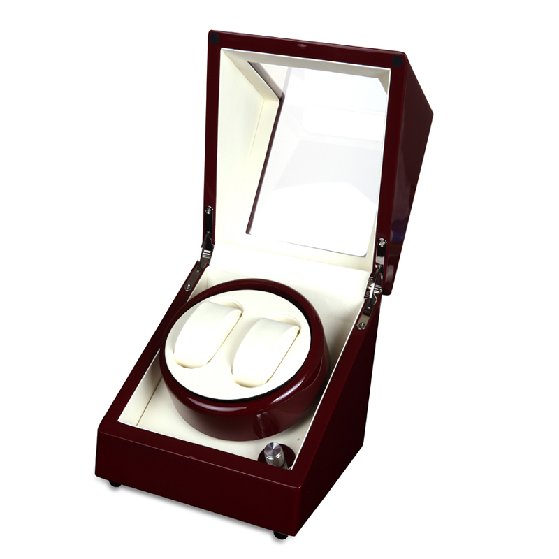 Luxury Wooden Red Paint 2 slot 5 Mode Watch Winder, AA Battery/10V~240V AC Adaptor Automatic Watch Winder ultra luxury 2 3 5 modes german motor watch winder white color wooden black pu leater inside automatic watch winder