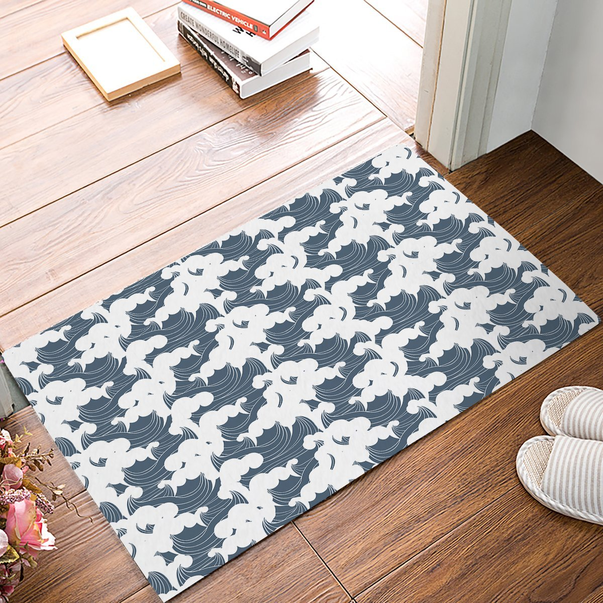 Blue And White Japanese Waves Pattern Door Mats Kitchen