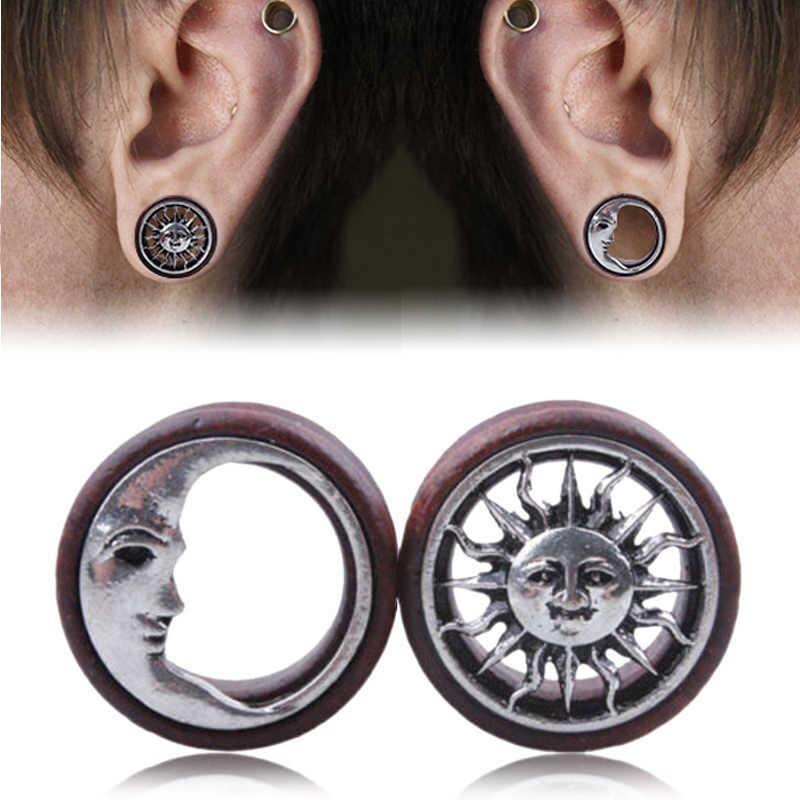 9f0fa7f6a 1Pair Fashion Wooden Hollow Sun & Moon Ear Plugs Gauges Saddle Flesh Tunnel Ear  Piercing Expander