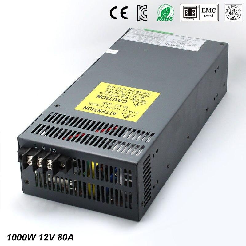 Мощность питания dc12V 80A 1000 Вт Светодиодный драйвер для Светодиодный свет Газа Дисплей Регулируемый постоянного тока для Мощность поставки с