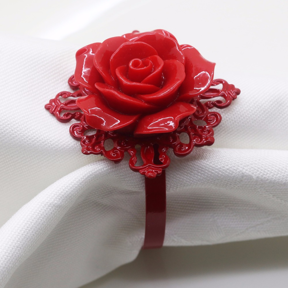 High Quality 6Pcs / 10Pcs Red Series Rose Decoration Napkin Ring, Suitable For Wedding Reception, Birthday Party, Silver, Buckle