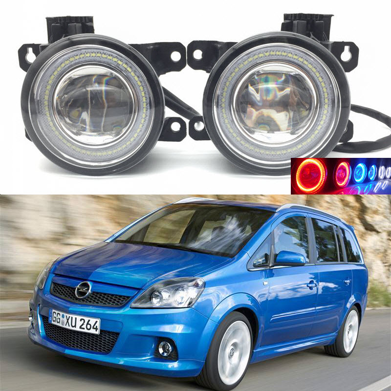 For Vauxhall Opel Zafira B OPC 2005-2011 2-in-1 LED 3 Colors Angel Eyes DRL Daytime Running Lights Cut-Line Lens Fog Lights for opel astra h gtc 2005 15 h11 wiring harness sockets wire connector switch 2 fog lights drl front bumper 5d lens led lamp