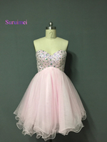 New Design Cute Pink Sheer Top Neck Lace Tulle Short Sleeve Prom Dress Women Free Shipping