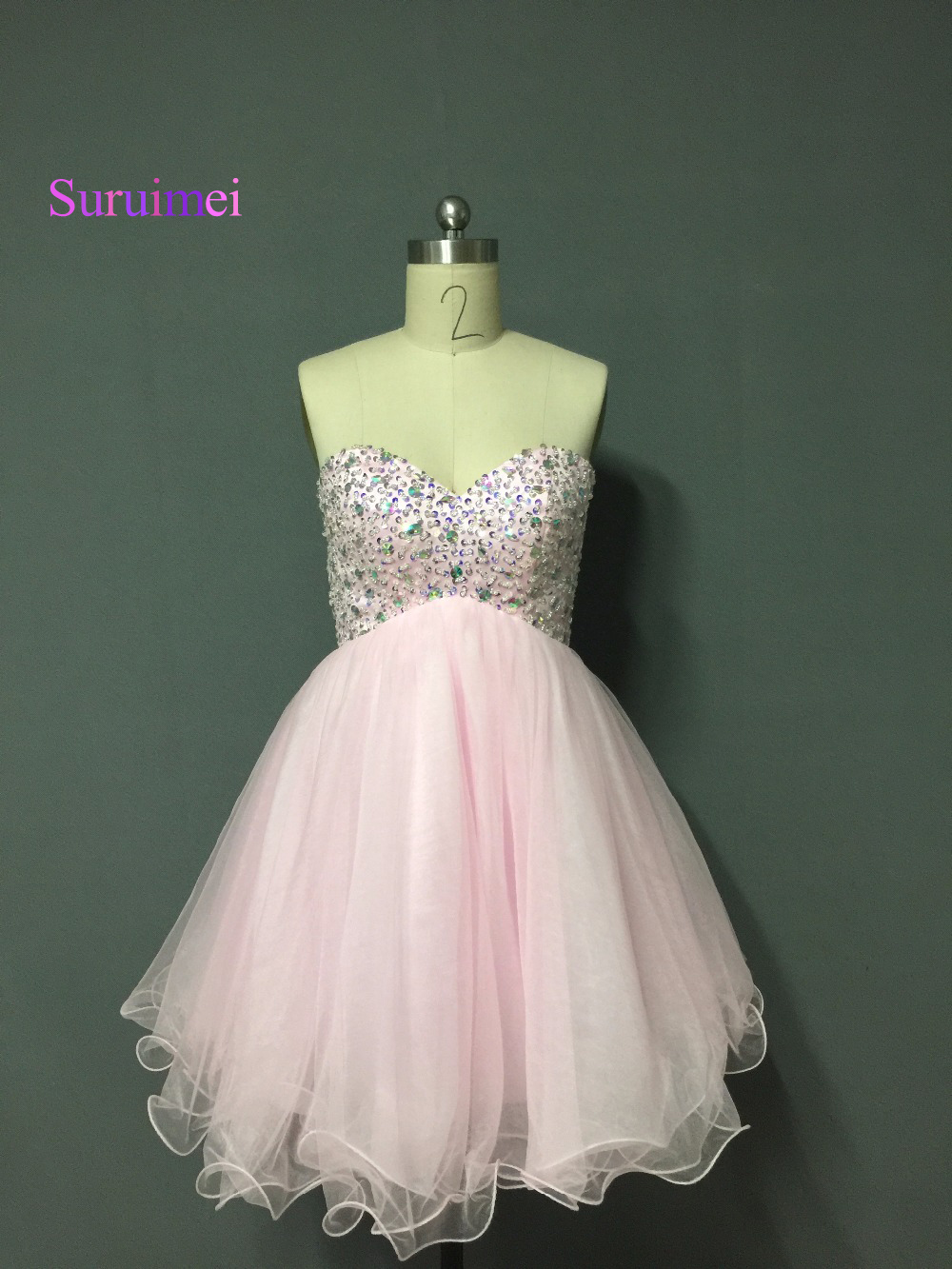 New Design Pink Green Sequine Tulle Short Prom Dress