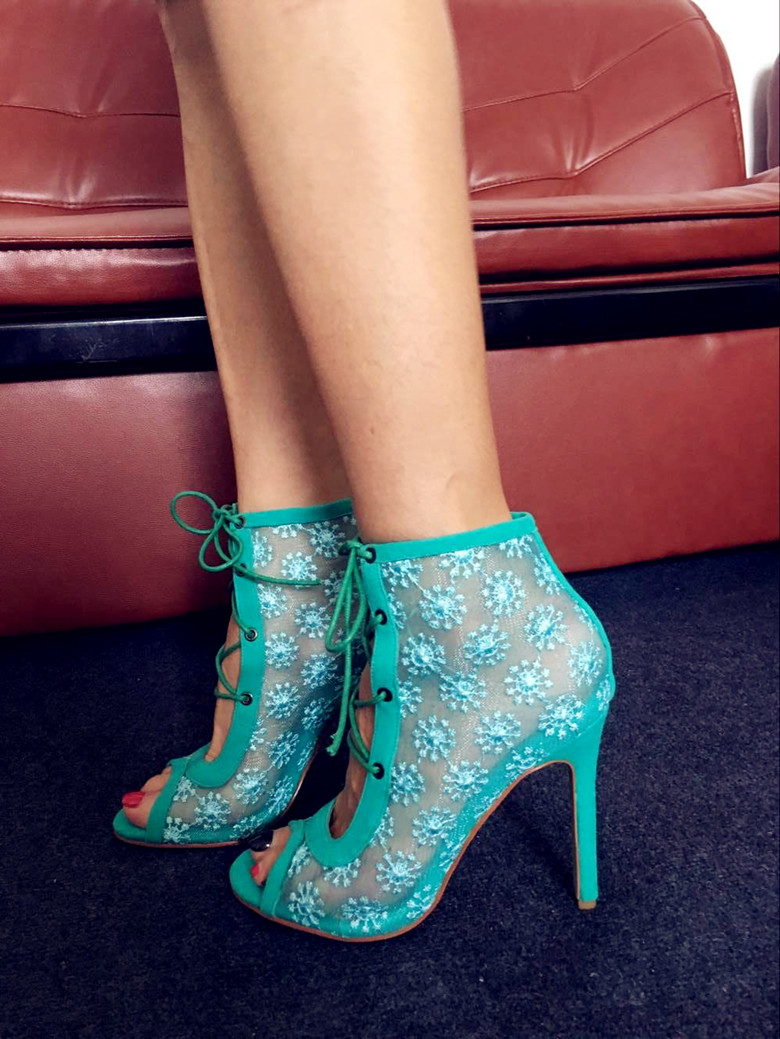 Fashion Green/Blue Suede Leather Patchwork Women Lace Up Ankle Boots White Floral Ladies Sexy Lace Boots Peep Toe High Heel Boot