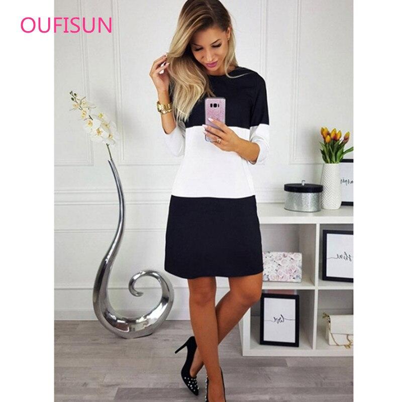 Oufisun Casual Women Dress Patchwork 3 4 Sleeve Dresses Oversize Loose Tunic Dress Black White Women Autumn Fashion Vestidos in Dresses from Women 39 s Clothing