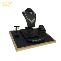 Black PU Leather Jewelry Display Window Showcases Stainless Steel Necklace Ring Holder Jewellery Display Stand 52*38*35cm