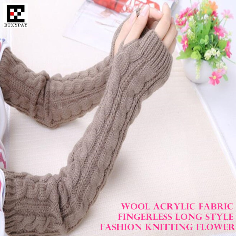 200p Winter Warm Women&Girl Long Style Gloves,Fashion Wild Wool Knitted Twist Pattern Fingerless Half Finger Gloves Arm Sleeves