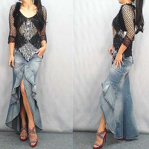 Long Denim ruffle Skirt Brand 2017 Fashion Slim Mermaid Style High Waist With Tassels Women saia