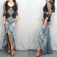 Long Denim ruffle Skirt Brand 2017 Fashion Slim Mermaid Style High Waist With Tassels Women saia longa cintura alta Skirt