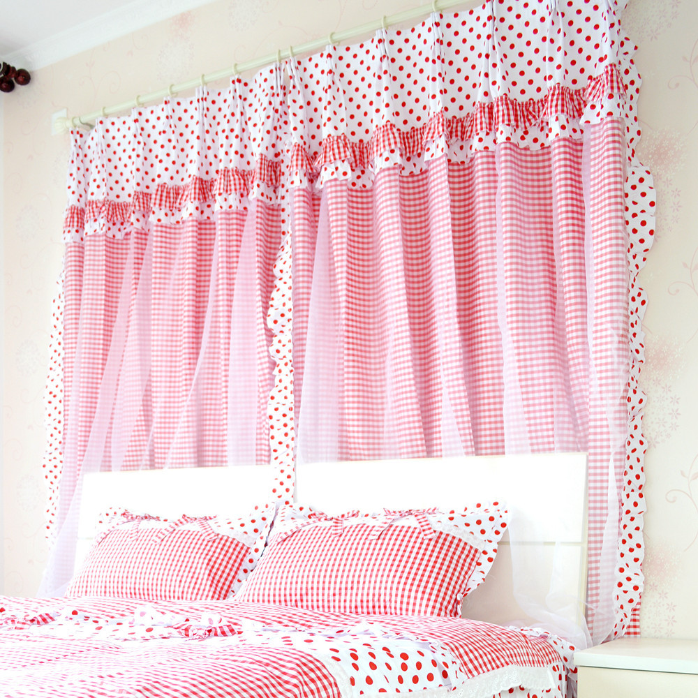 Cool New Cute Red Polka Dot Girls Room Curtains Elegant Red Gingham Print Bedroom  Curtains Modern White And Red Curtains Set In Curtains From Home U Garden  ...