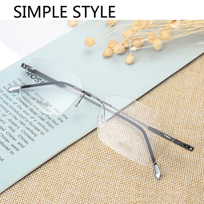 Handoer Rimless Optical Glasses Frame for Men Spectacles Glasses Optical Prescription Frame Titanium Legs