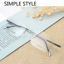 Handoer Rimless Optical Glasses Frame for Men Spectacles Prescription Titanium Legs