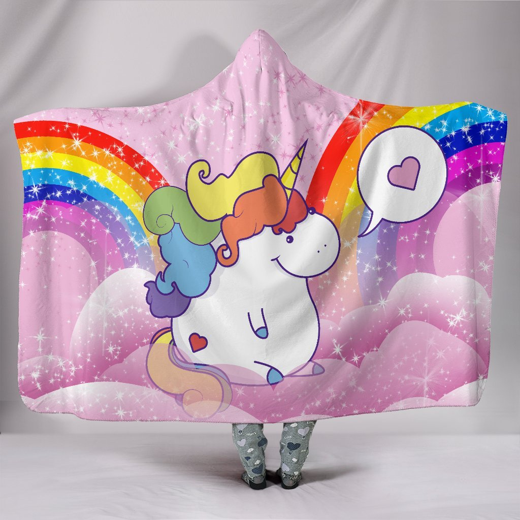cute chubby unicorn princess unisex 3D HOODED BLANKET STORE FOR SALE