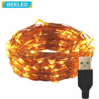 LED strip light USB Powered with Remote Control Flexible Copper Silver Wire 10M 100 leds Waterproof Outdoor Christmas