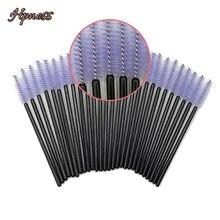 50 Pieces/Lot Mascara Brush Applicator Eyelash Extension Brushes Eyebrow Makeup Tools Black Handle Purple HPNESS