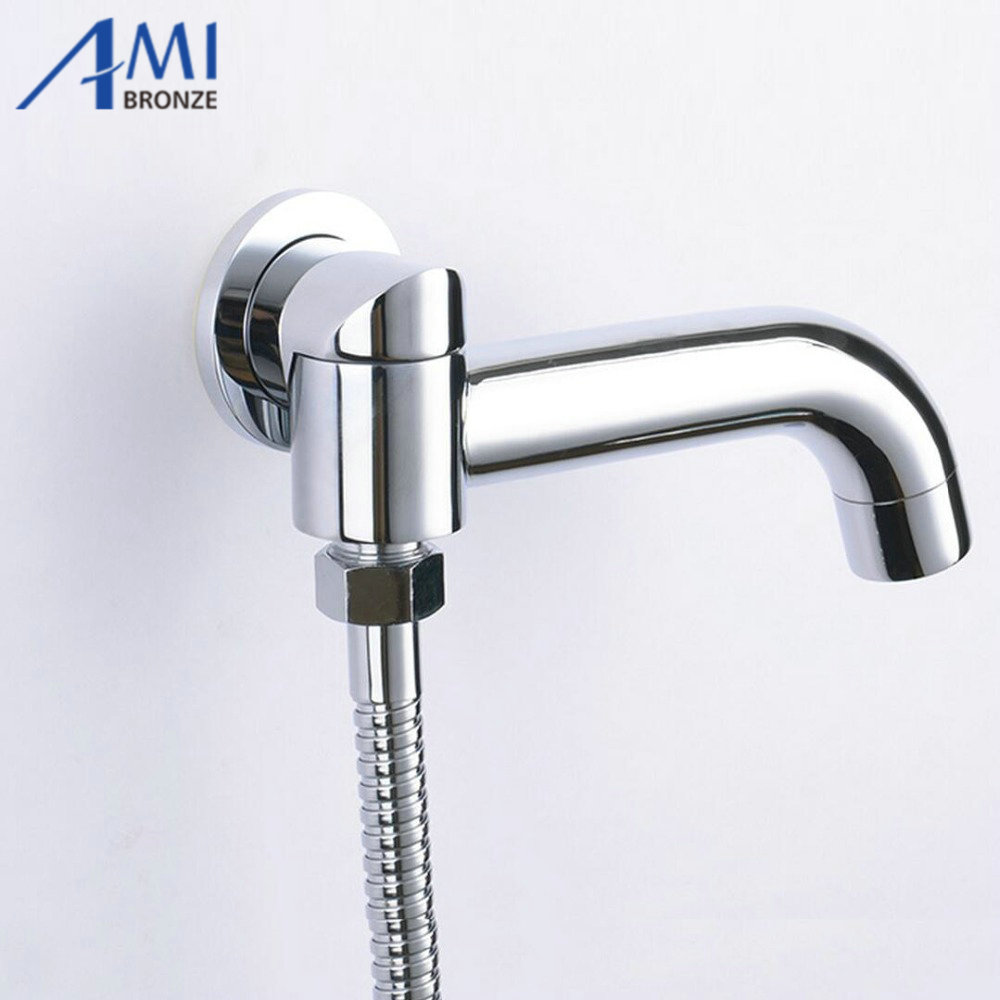 Single Tube Bathroom Faucet Accessories Rotation Tub Shower Spout Solid Brass Bath Tap Water