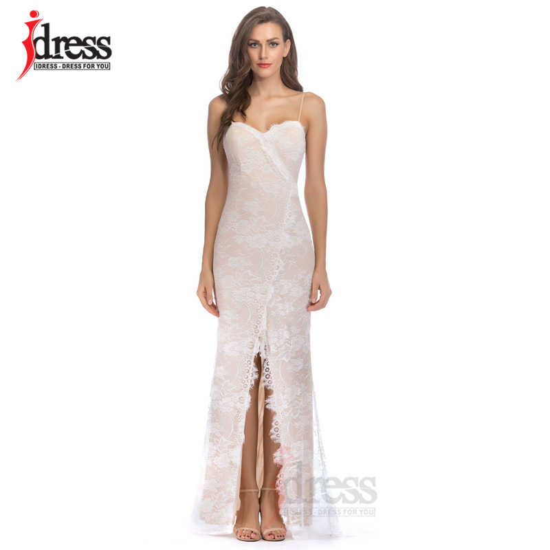 IDress Sexy Women Lace Maxi Summer Dress Backless Vestido Spaghetti Strap  Luxury White Nightclub Queen Party 4a95ccb9ca0b