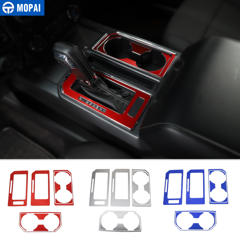MOPAI Car Interior Gear Shift Panel Front Rear Cup Holder Decoration Cover Sticker for Ford F150 2016 Up Car Accessories Styling-in Interior Mouldings from Automobiles & Motorcycles