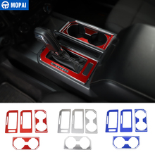 MOPAI Car Interior Gear Shift Panel Front Rear Cup Holder Decoration Cover Sticker for Ford F150 2016 Up Car Accessories Styling