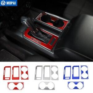 Image 1 - MOPAI רכב פנים Gear Shift פנל קדמי אחורי מחזיק כוס קישוט כיסוי מדבקה עבור פורד F150 2016 עד אביזרי רכב סטיילינג