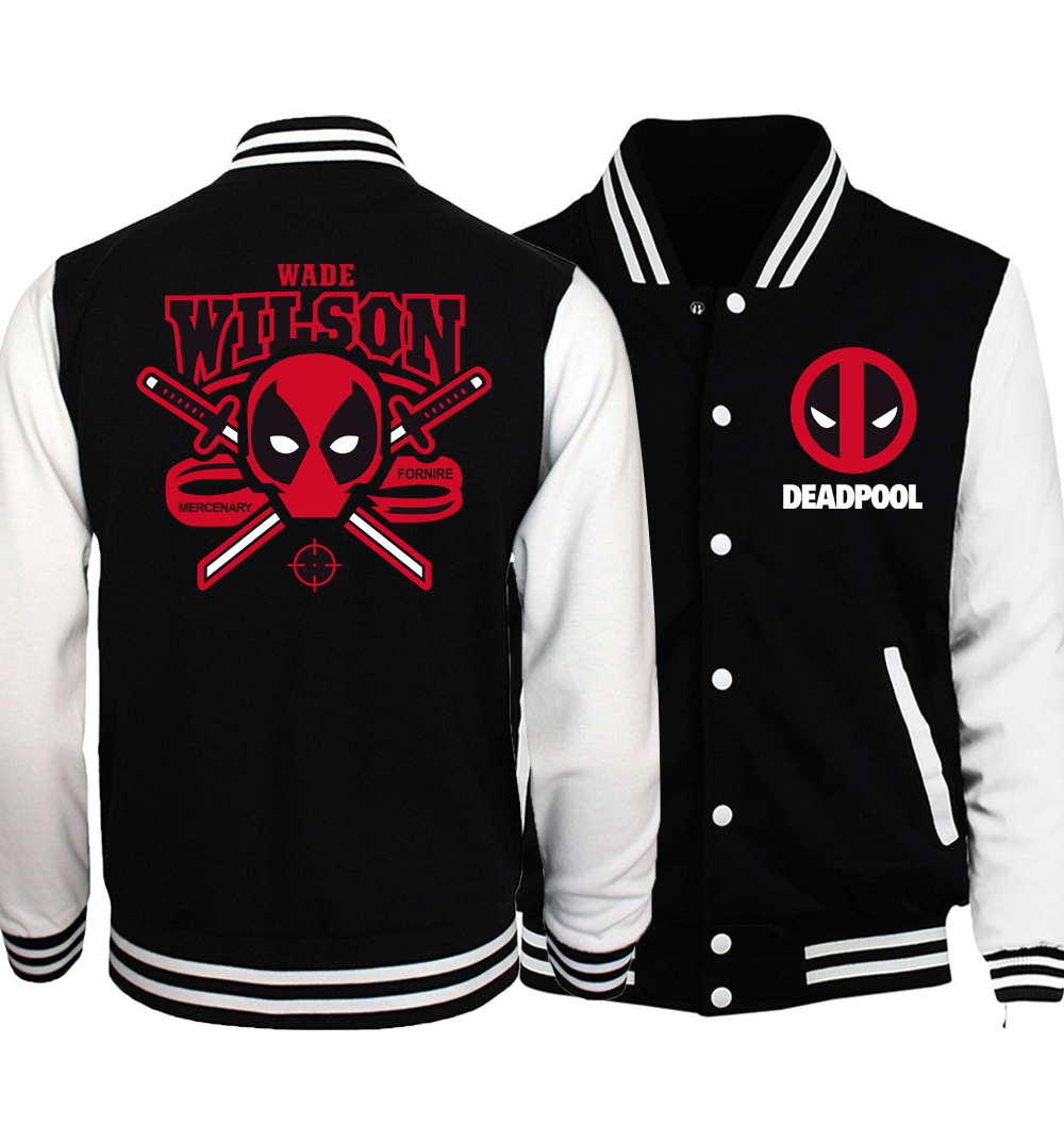 Deadpool Jacket Men Batman / The Flash/  Baseball Uniform 2018 Spring Funny Print Skull Jackets Punk Hip Hop Coat