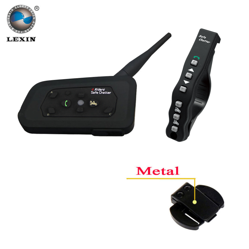 1 stücke Lexin A4 BT Sprech mit Fernbedienung für 4 Fahrer Bluetooth Motorrad Intercom 1200 Mt Intercomunicador moto