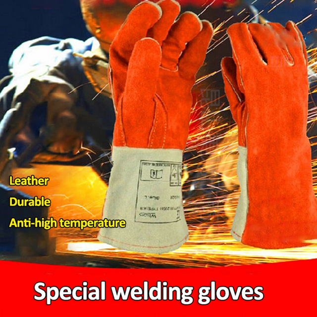 Cowhide Welding Gloves COMBO Welder Tool high temperature Heat Shield Guard Protection Durable Welding Equipment Glove