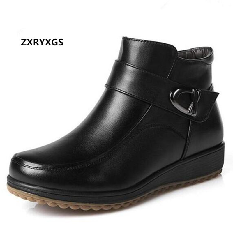 2019 New Winter Warm Comfort Snow Boots Fashion Shoes Women Boots Flat Non slip Real Leather