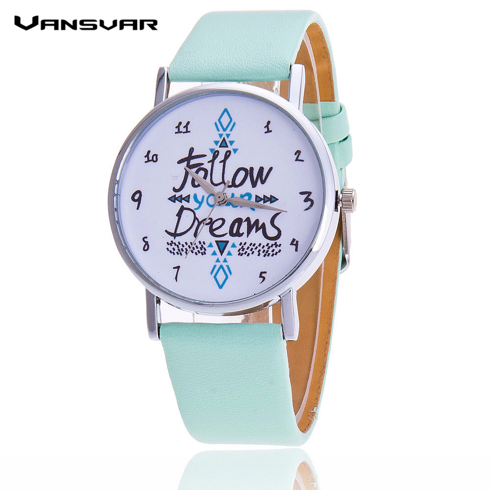 Vansvar Follow Your Dreams Women Quartz Watches Reloj Mujer Relogio Feminino Leather Strap Wristwatch New Dress Watch Clock 2016 new fashion men wallets bifold wallet id card holder coin purse pockets clutch with zipper men wallet with coin bag gift