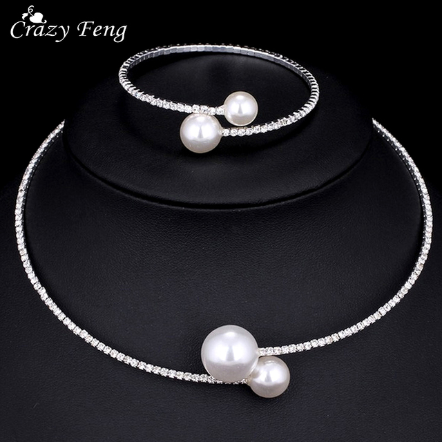 Crazy Feng Simulated Pearl Choker Necklace Bracelet Set For Women Beads Cleary C