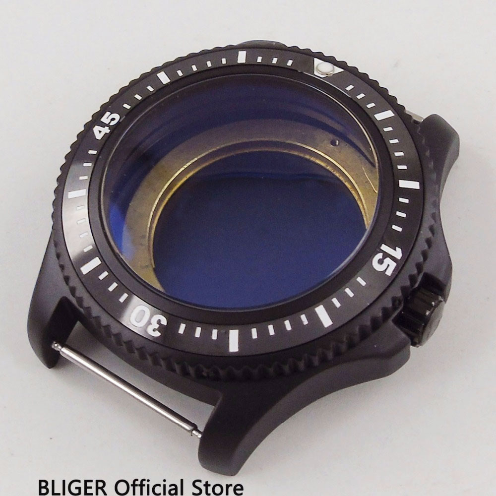2018 New Arrival BLIGER 44MM Black Ceramic Rotating Bezel PVD Coated Watch Case Fit for ETA 2836 MIYOTA 8215 821A Movement2018 New Arrival BLIGER 44MM Black Ceramic Rotating Bezel PVD Coated Watch Case Fit for ETA 2836 MIYOTA 8215 821A Movement