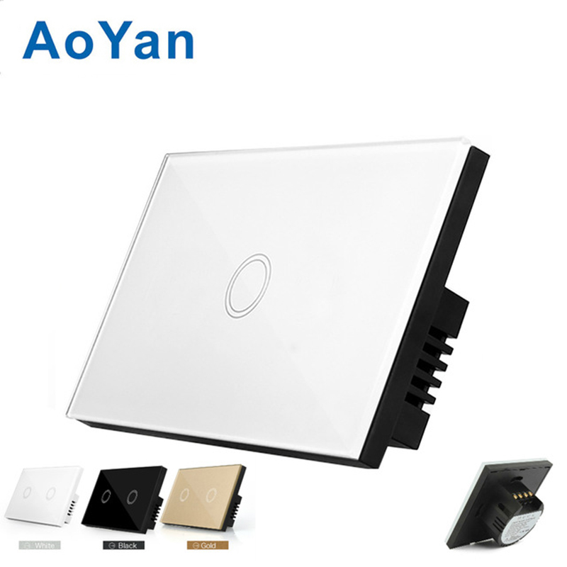 AoYan US Standard 1 gang 1 way touch switch wall lamp with tempered glass panel and electric control us au standard touch wall switch 1 gang with crystal tempered glass panel and blue led backlight