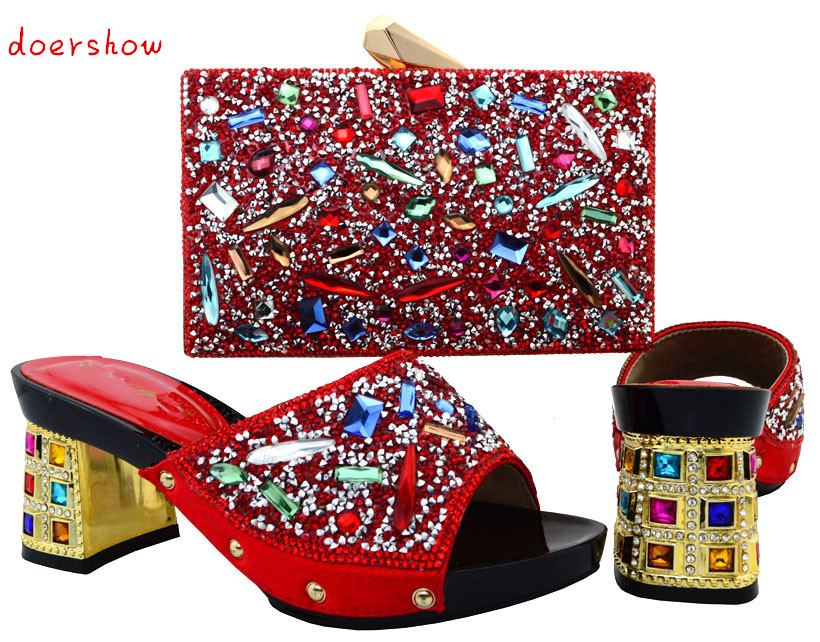 doershow Italian Shoe And Bag Set For Party red Rhinestone Evening Shoe African High Quality Sandal Matching Bags Set  PUW1-12 italian shoe with matching bag set for wedding african matching shoe and bag set with stones high quality women pumps red gf24