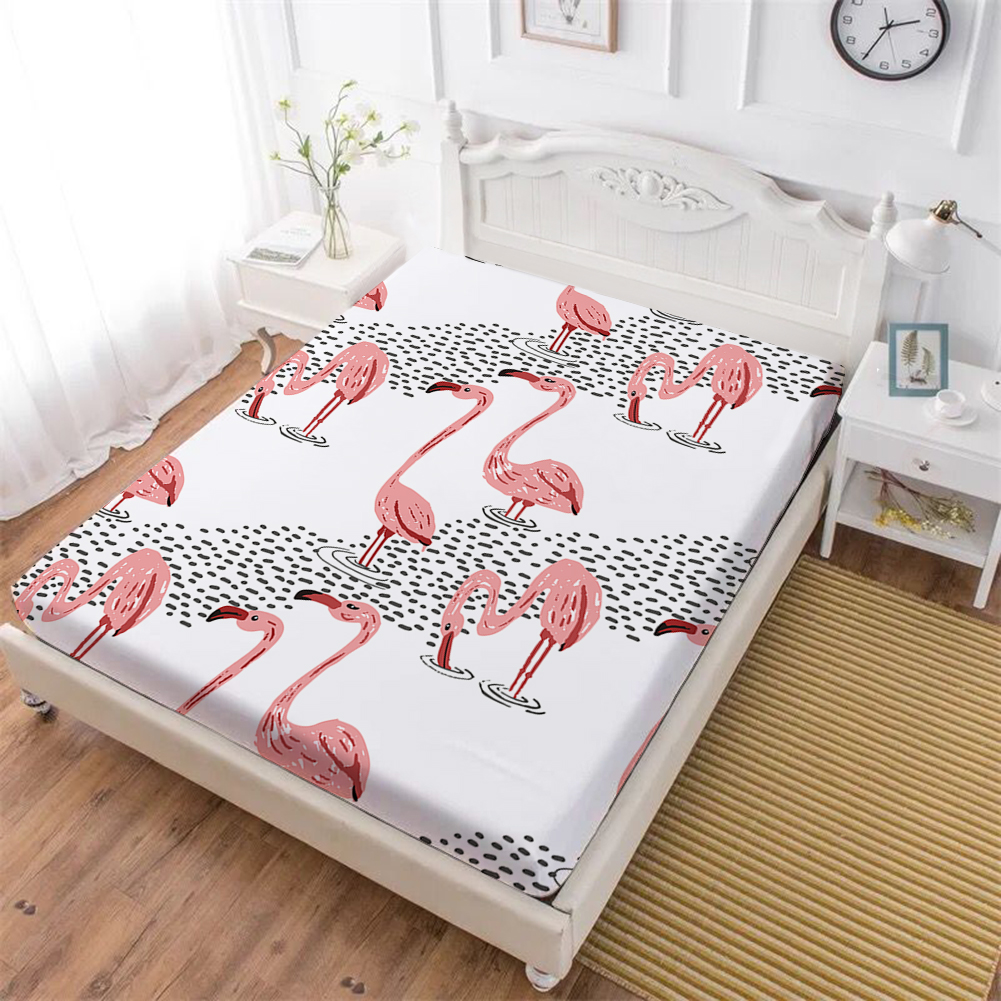 100 Polyester Bed Sheets Red Pink Flamingo Print Fitted Sheet Animal Print Mattress Cover Elastic Band D20 in Sheet from Home Garden
