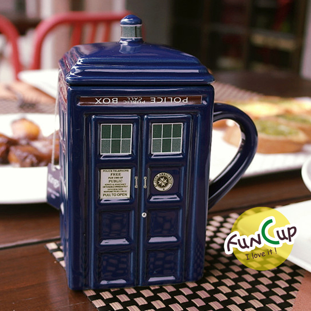 Doctor Who 17oz Tardis Figural Ceramic Sculpted Coffee Tea Mug With Lid Police Box Cup Travel Mug Novelty Birthday Gifts  2