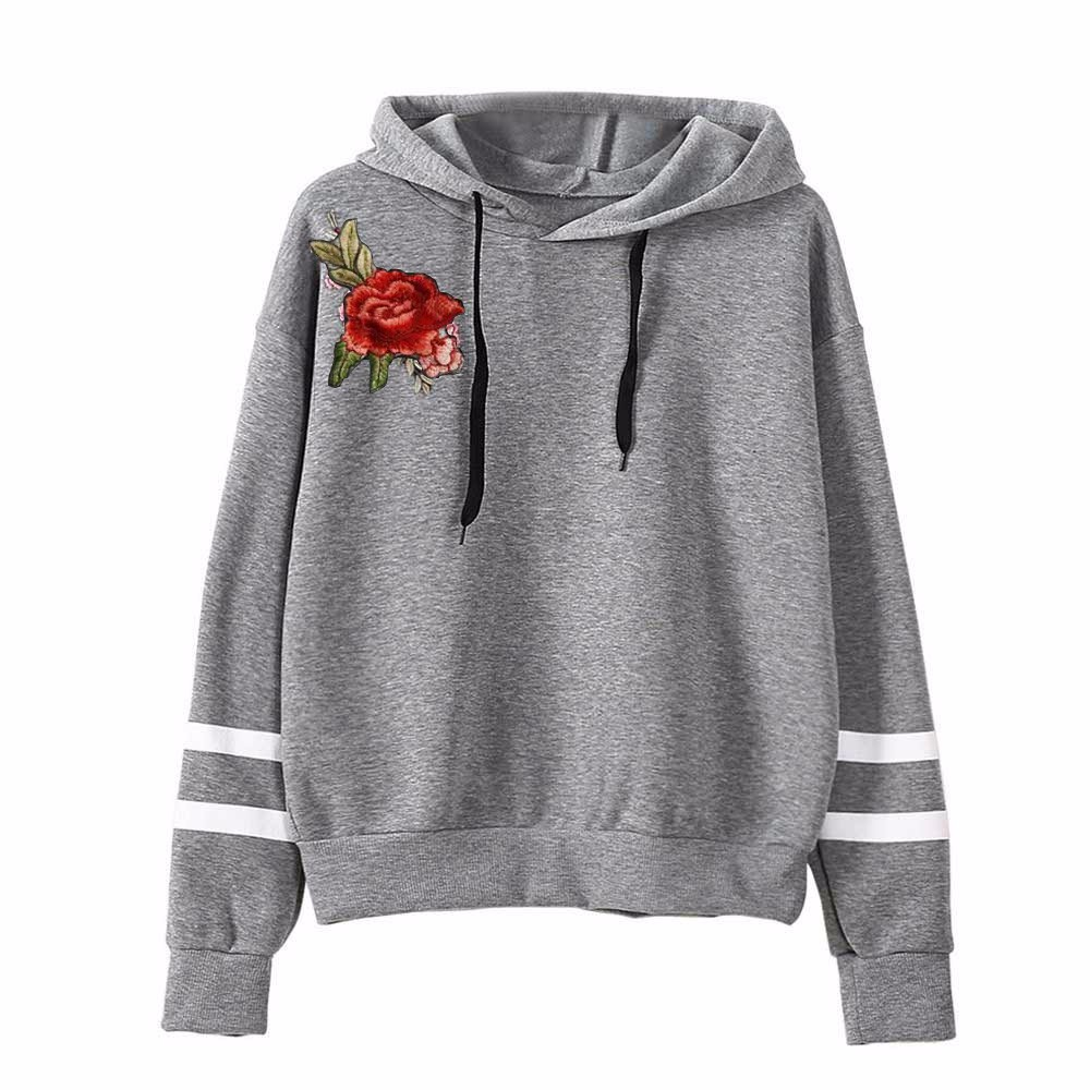 New 2020 spring Sweatshirt Womens lovely  Embroidery Applique Long Sleeve Hoodie Sweatshirt Jumper Hooded Pullover Tops hot