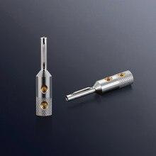 Viborg 4Pcs VB401R Pure Copper Rhodium Plated Banana Plug Speaker Cable Plug HIFI Audio Banana Plug