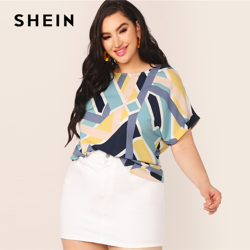SHEIN Plus Size Multicolor Geo Print Cuffed Sleeve Top Blouse Women Summer Casual Colorblock Boat Neck Roll Up Sleeve Blouses 1