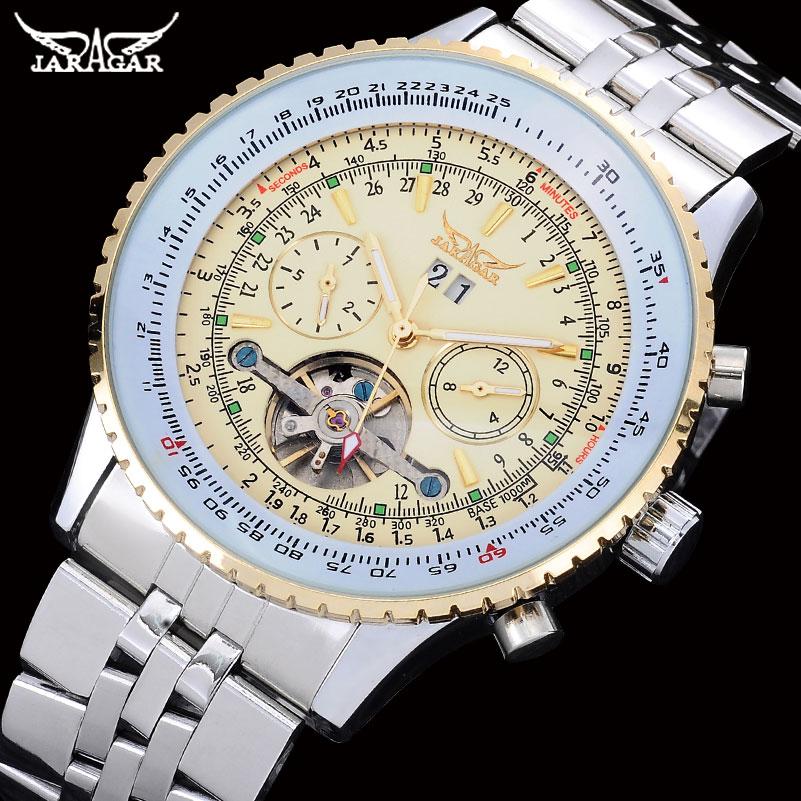 JARAGAR Men Sports Mechanical Watch Mens Stainless Steel Tourbillon Automatic Wristwatches Male Auto Date Clock Relogio Feminino