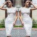 Белый Элегантный Платье Для Коктейля Русалка Кружева 2016 Сладкие Цветы Партия Платья Короткие Платья