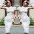 White Elegant Cocktail Dress Mermaid Lace 2016 Sweet Flowers Party Gowns Short Dresses