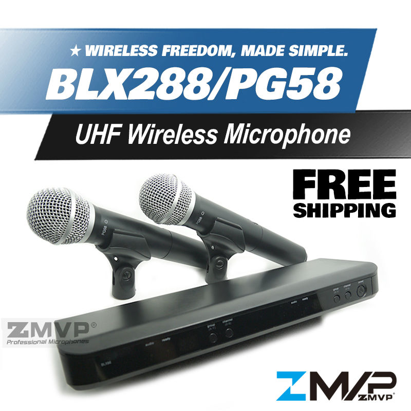 Free Shipping! BLX BLX288 BLX88 PG 58A UHF Wireless Microphone Karaoke System With PG58 Dual Handheld Transmitter Microfone Mic  free shipping high quality version sm 58 58lc sm58lc wired vocal karaoke handheld dynamic microphone microfone microfono mic