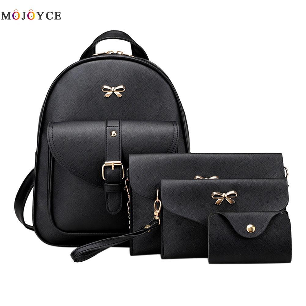 MOJOCE black gray pink girl backpack students shoulder bag female clutch bag teenage girls female